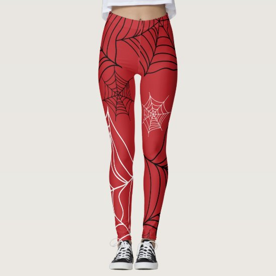 Red with Black & White Spiderwebs Halloween Leggings