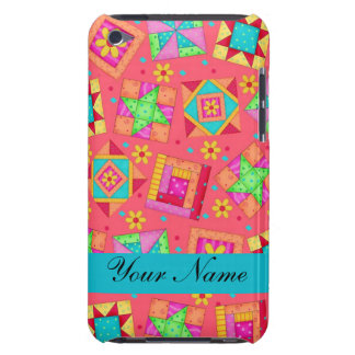 Red with Colorful Quilt Blocks & Personalized Barely There iPod Case