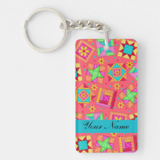 Red with Colorful Quilt Blocks & Personalized Keychain