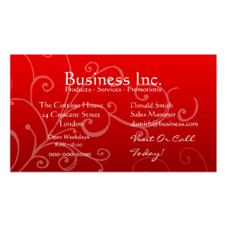 Red with Decorative Swirl Business Cards
