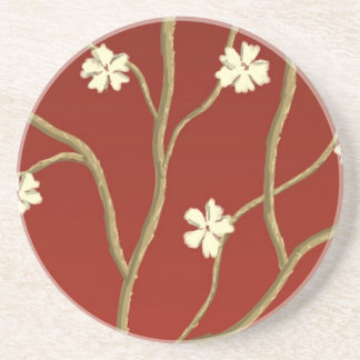 Red with Flowering Branches Coaster