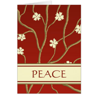 Red with Flowering Branches Holiday Card