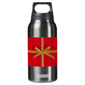 Red with gold ribbon insulated water bottle