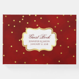 Red with Gold Stars Wedding Guest Book