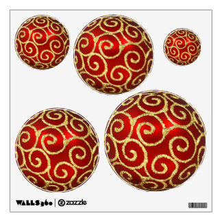 Red with Gold Swirls Wall Decal