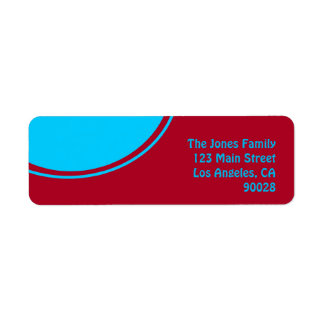 Red with mod turquoise circle label