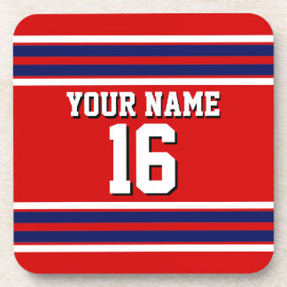Red with Navy White Stripes Team Jersey Beverage Coaster