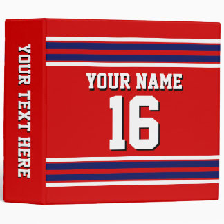 Red with Navy White Stripes Team Jersey Binder