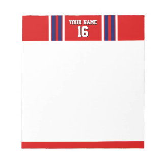 Red with Navy White Stripes Team Jersey Notepad