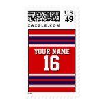 Red with Navy White Stripes Team Jersey Postage Stamps
