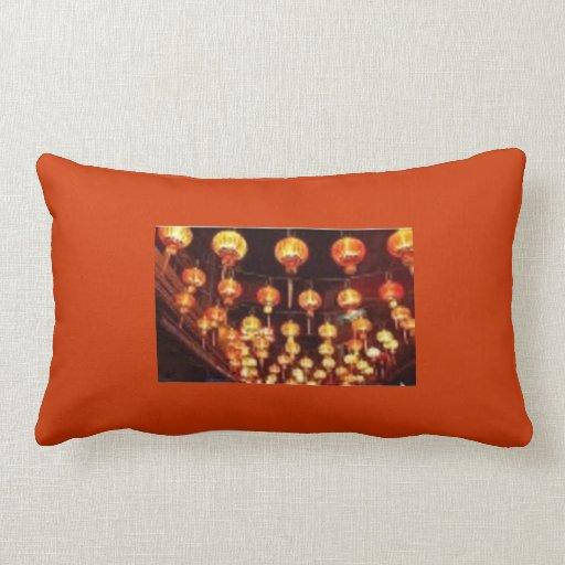 Red with Paper Lanterns Lumbar Pillow