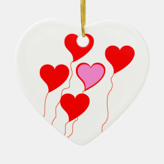 Red with Pink Heart Balloons Ornament