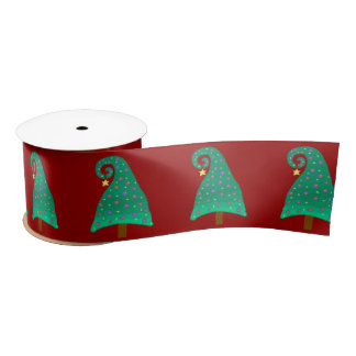 Red With Silly Green Christmas Tree Satin Ribbon