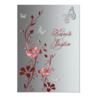 Red with Silver Butterflies Wedding Invitation (<em>$2.43</em>)