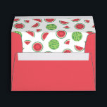 """Red with Watermelon Patterned Liner Envelope<br><div class=""""desc"""">Red envelope with a watermelon lining for a summer celebration,  barbecue,  garden party or other fun occasion.</div>"""