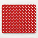 Red with White Dots Mousepad