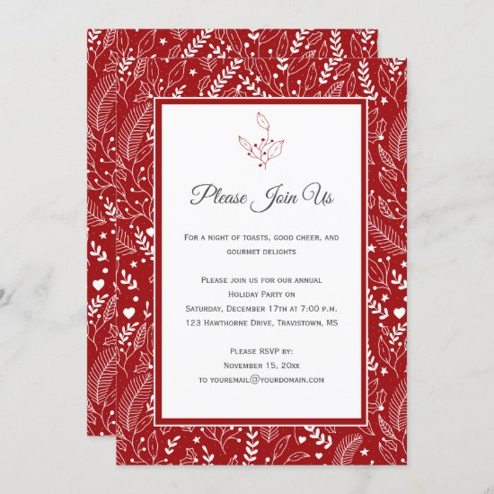 Red with White Holly Berries Floral Swirls Patter Invitation