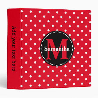 Red with White Polka Dots Personalized 3 Ring Binder