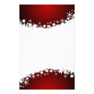 Red with White Snowflake Stationery