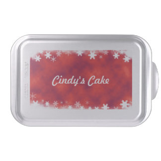 Red with White Snowflakes Cake Pan
