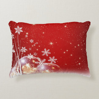 Red with White Snowflakes Pattern Accent Pillow