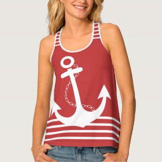 Red with White Stripes and Anchor Design Tank Top
