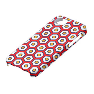Red with yellow, blue and white beehive hexagons iPhone 5 cover