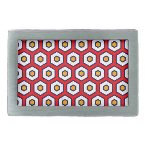 Red with yellow, blue and white honeycomb hexagons belt buckles