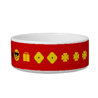 Red with yellow clover flowers smiley personalized bowl