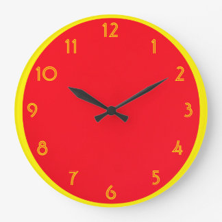 Red with Yellow Large Clock