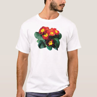 Red with Yellow Primroses Men's T-Shirt