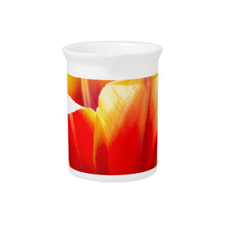 Red with yellow tulip in flowers field beverage pitcher