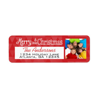 Red With Your Holiday Photo Merry Little Christmas Return Address Label