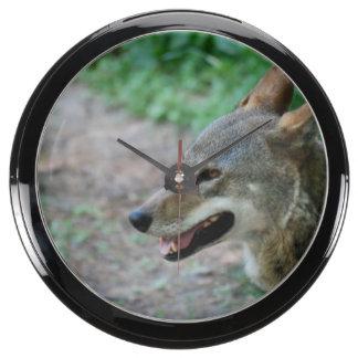 Red Wolf Aquarium Clock
