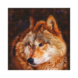 Red wolf fractal canvas print