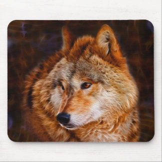 Red wolf fractal mouse pads