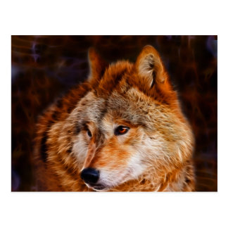 Red wolf fractal postcard