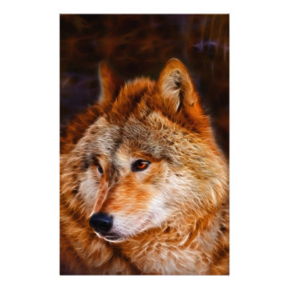 Red wolf fractal stationery