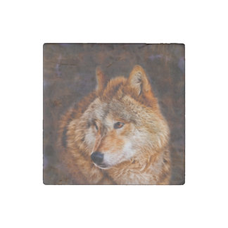 Red wolf fractal stone magnet