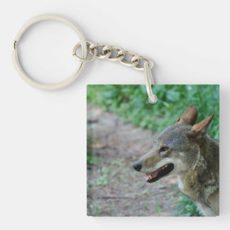 Red Wolf Single-Sided Square Acrylic Keychain