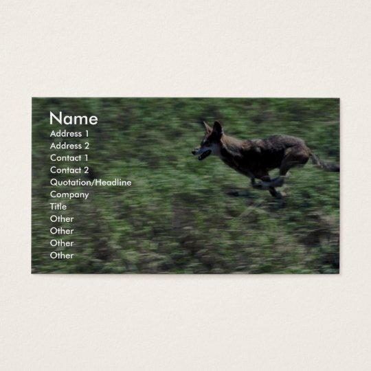 Red Wolf (running) Business Card