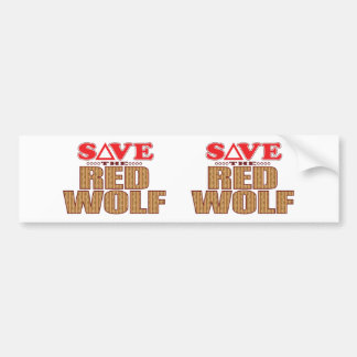 Red Wolf Save Bumper Sticker