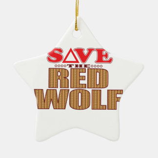 Red Wolf Save Ceramic Ornament