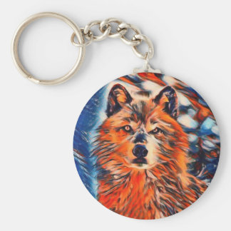 Red Wolf Wildlife Keychain