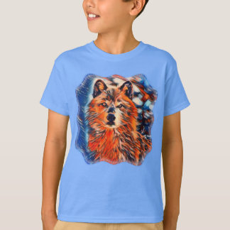 Red Wolf Wolves Wildlife Kids Tshirt