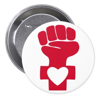 Red Woman Power with Heart Symbol Button