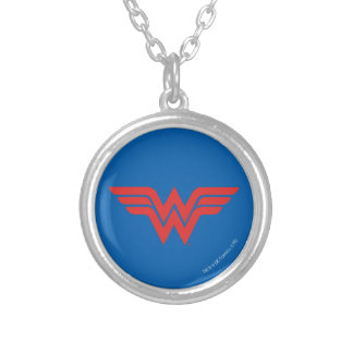 Red Wonder Woman Logo Silver Plated Necklace