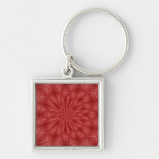 Red wood abstract pattern Silver-Colored square keychain