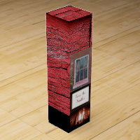 Red wood barn fireplace monogrammed wine gift box