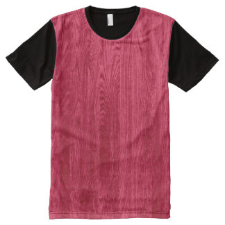 Red Wood Grain Texture All-Over Print T-shirt